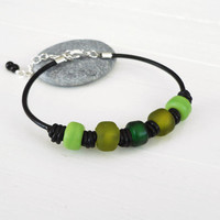 Green glass bracelet knotted black leather cuff boho bracelet glass pony beads