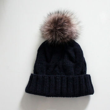 Navy blue knit hat with fur pom pom, Braided cables beanie, Fur bobble hat,  Lambswool cashmere beanie, Recycled fur, Detachable pom pom