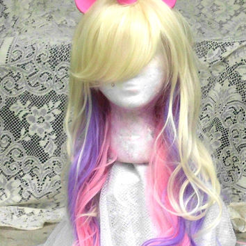 Princess Cadance Unicorn Wig, Pink and Purple, Unicorn Costume, Unicorn Horn, cosplay, Costume Ready to Ship Long My Little Pony, MLP, curly