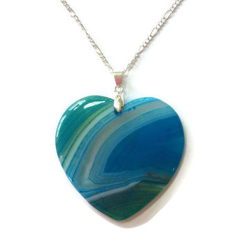 Blue Onyx Agate Heart Necklace Gemstone Heart Pendant Stone Heart Gemstone Pendant Girlfriend Necklace Reiki Necklace Statement necklace