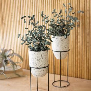 Set of 2 Terrazzo Planters Stands With Iron Stands #2
