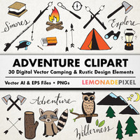 Adventure & Camping Clipart  - Rustic Drawings, Hand Drawn Clipart, Woodland clipart, tent mountain owl, wilderness clipart, digital collage