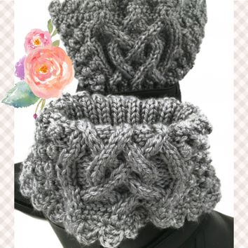 Irish Celtic Knot Boot Cuffs Womens Gray Heather Caron Simply Soft