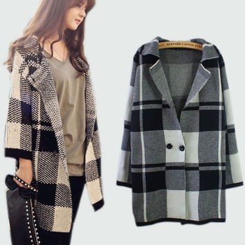 2016 New Winter Women Sweater Coat Cardigans Plaid Long Poncho Sudaderas Elegant Slim Wool Trench Coat With Pockets Plus Size