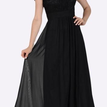 Sweetheart Neck Pleated Lace Bodice Short Sleeves Empire Waist Formal Dress Black