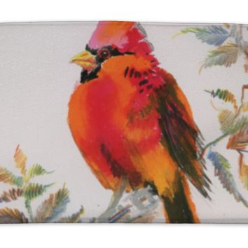 Bath Mat, Watercolor Painting Of Cardinal Bird Sitting On A Branch