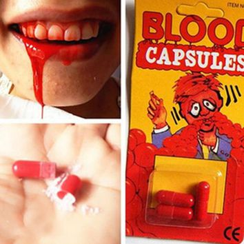 DCCKL72 Free Shipping 18 pcs/set Safty Funny Blood Pill Trick Toys Whimsy Prop Vomiting Blood Capsule April Fool's Day Joke Toys GYH ZZZ