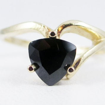 Black CZ 14k Yellow Gold Trillion Ring, Solid 14 Karat Gold Ring, 14k Gold Black CZ Ring, Yellow Gold Ring, Trillion Cz Ring