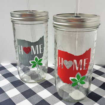 Hometown Pride *OHIO*//Mason Jar Tumbler//Personalized Drinkware//Ohio State Buckeyes