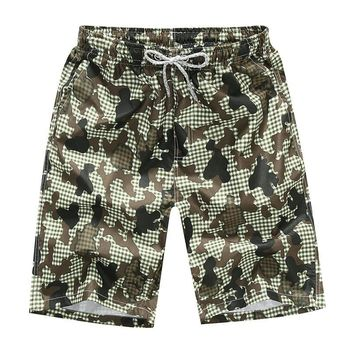 Men's Beach Shorts Leisure Loose Green Camouflage Printed Shorts Quick-Drying Surfing Beach Pants Plus Size 3XL 4XL
