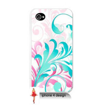 Pink/Teal Scroll Design Iphone 4/4s case, Iphone case, Iphone 4s case, Iphone 4 cover, i phone case, i phone 4s case