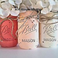 Peachy Pink Ombre Mason Jars, Girls Nursery Decor, home decor, housewares, pink, rustic home decor, bathroom decor, bathroom accessories