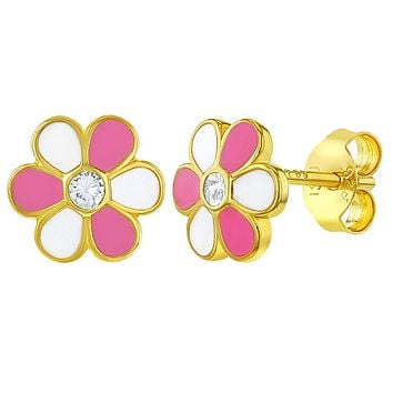 Yellow Gold Flashed 925 Sterling Silver Pink White Stud Flower Earrings Girls