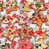 Wooden Buttons - 20 pcs Painted  Star  Wood Buttons Floral Design Assortment 22 mm
