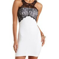 Black/White Racer Front Lace Yoke Bodycon Dress by Charlotte Russe