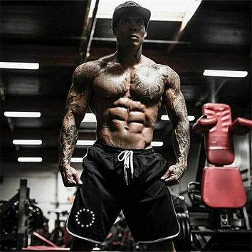 Summer fitness shorts men knee length bodybuilding cargo active shorts Joggers gyms workout sweat short pants