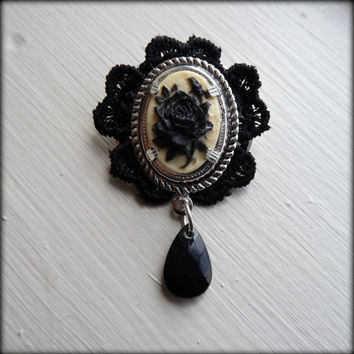 Ivory and black rose cameo brooch with lace and by Arthlin on Etsy