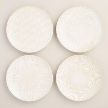 White Textured Stoneware Plates Set of 4