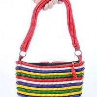 Multi-color plastic coil vintage handbag | VintageAnelia - Bags & Purses on ArtFire