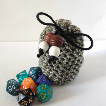 Dice Bag, Grey Dice Bag, Crochet Drawstring Bag for dice, Knit Coin Purse, Grey and Green Bag