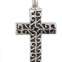 "Cremation Jewelry Stainless Steel ""Zed's Cross"" Pendant"