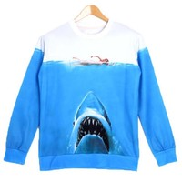 Great White Shark Jaws Movie Digital Print Pullover Sweatshirt Sweater | DOTOLY