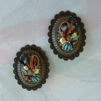 Antiqued Brass Southwestern Clip On Earrings Conchos Leather Vintage Jewelry