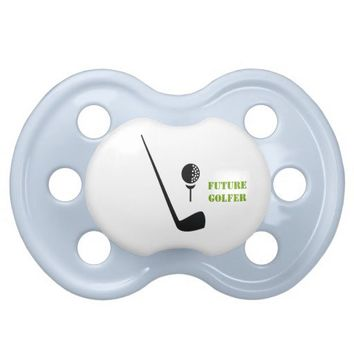Future golfer club and ball black, green custom pacifier from Zazzle.com