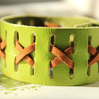 Graduashion Gift Green Cute Wristband Stylish Cool Green Soft  Leather Cuff Cross Metal Button Adjustable Wrap Bracelet C-26