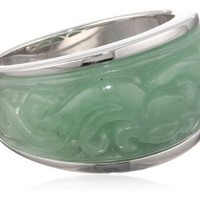 Sterling Silver Carved Jade Ring, Size 7