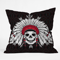 Chobopop Geometric Indian Skull Throw Pillow
