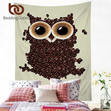 BeddingOutlet Owl Tapestry Coffee Creative Wall Art Carpet Funny Hanging Wall Tapestries Polyester Soft Picnic Sheet 2 Sizes