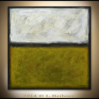Original abstract painting 30x30 large minimalist landscape painting yellow abstract raw modern art by L.Beiboer