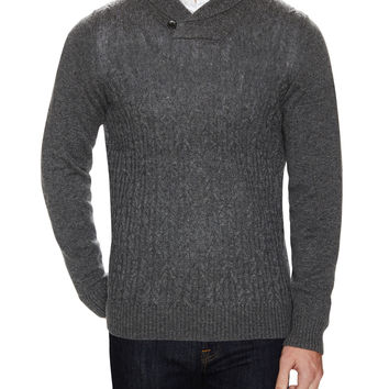 Ben Sherman Men's Lambswool Shawl Collar Sweater - Dark Grey -