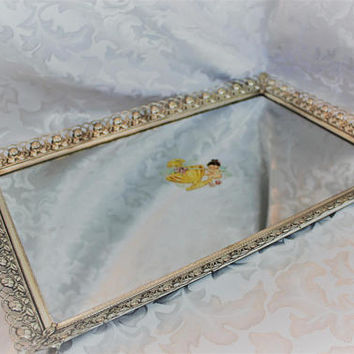 Silver Vanity Tray - Make Up Tray - Perfume Tray - Vintage Silver Ornate Dresser Tray