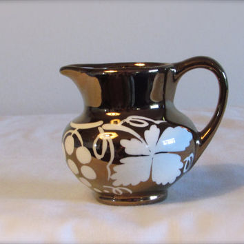 Miniature Creamer, Grays Pottery Creamer, Bronze Creamer, Dining Serving, laslovelies