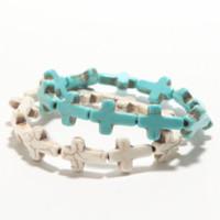 With Love From CA 2 Pack Turquoise Cross Bracelet at PacSun.com