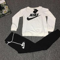 Nike Fashion Long Sleeve Sport Gym Shirt Pants Set Two-Piece  Sportswear