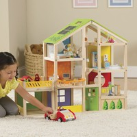 Wood Dollhouse with Furniture & Garage