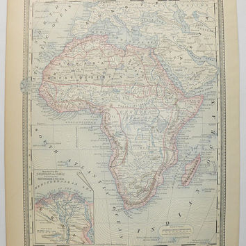 Real 1881 Antique Africa Map 1881 Rand McNally Map of Africa, Gift for Traveler, Sahara Desert, Madagascar Map, Vintage Africa Wall Art
