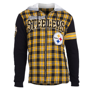 Pittsburgh Steelers KLEW Flannel Hooded Jacket Size M-XXL w/ Priority Shipping
