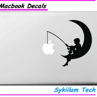 for MacBook Skin  Air 11 13 Pro 13 15 17 Retina Vinyl Decal Fishing on the Moon for Apple Logo Creative Personal Sticker Laptop