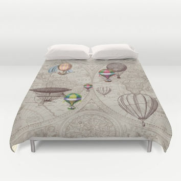 Hot Air Balloons Duvet Cover or comforter in warm tan and brown -  steampunk - bedroom, bed travel decor,  winter, warm