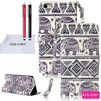 ACO-UINT Elephant Pattern PU Leather Wallet bundled with  Flip Protective Case for iPhone 6, 2 Stylus pens and Screen guard, Cleaning Cloth