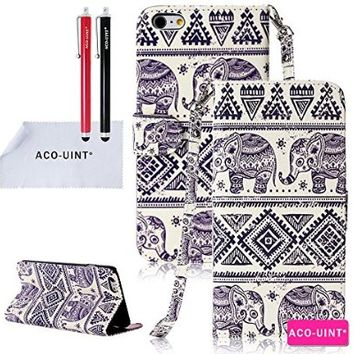 "iPhone 6 Case, iPhone 6 4.7"" Case, iPhone 6 Wallet Case, ACO-UINT Elephant Pattern Premium PU Leather Wallet Flip Protective Skin Case with Card Slots, Cash Compartment and Detachable Wrist Strap for Apple iPhone 6 4.7, Two Stylus Pens/2 Screen Protector/A"