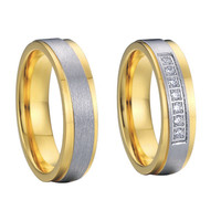 promotion cheap gold plated emery finish titanium steel wedding rings pair settings for men and women aneis de ouro