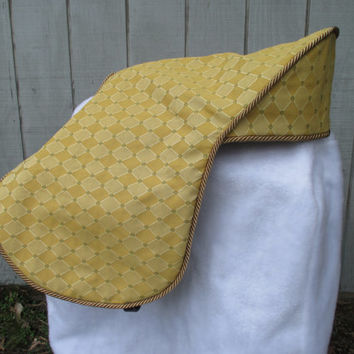 English Saddle Cover:  Two Tone Gold Diamonds with Sage Green Accent