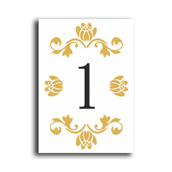 Printable Table Numbers DIY Instant Download Elegant Table Numbers White Gold Wedding Table Numbers Printable Table Cards Digital (Set 1-20)