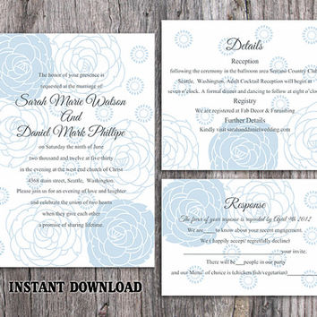 DIY Wedding Invitation Template Set Editable Word File Instant Download Printable Invitation Rose Wedding Invitation Blue Invitations