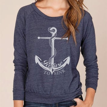Anchor Refuse to Sink Organic Loose Fit Long Sleeve Sweater